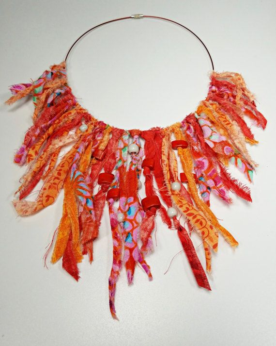 Fiery Red Statement Necklace Fabric Necklace Statement