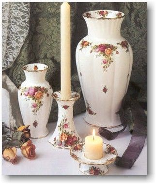 old country roses royal albert | Clockwise from left: Montrose Vase S/S, Montrose Candlestick, Montrose ...