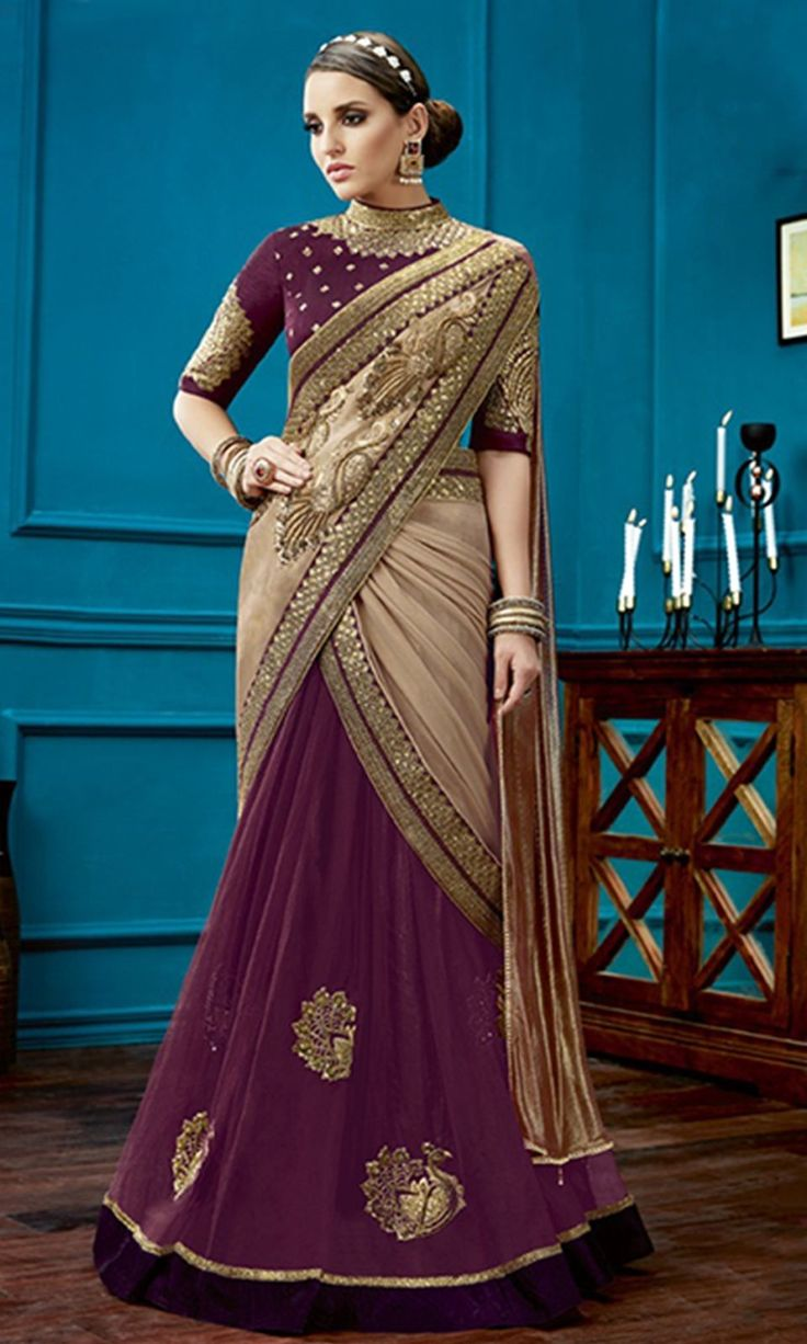 #Purple and #Beige Designer Wear #LehengaSaree