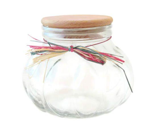 ✰☾ Large Glass Pumpkin Pot Belly Apothecary Jar with #Cork Lid / Shabby Vi... Best http://etsy.me/2iDLteK
