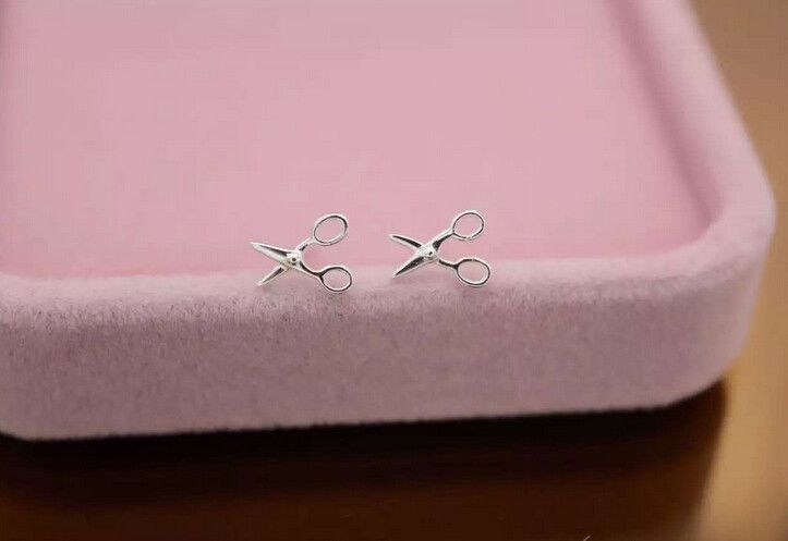 Cute tiny scissors 925 sterling silver earrings,a perfect gift