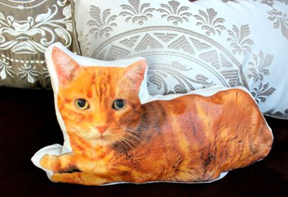 CUSTOM CAT PILLOW If there are any feline fanatics on your giftlist, knock their knickers off with a customized pillow that looks just like their cat. In fact, you could follow the DIY tutorial to make a cushion that resembles just about any pet, even (gasp) a dog.  See the DIY here