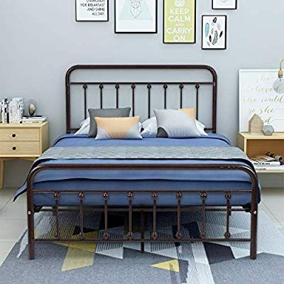 Best Amazon Com Aufank Metal Bed Frame Full Size Victorian 400 x 300