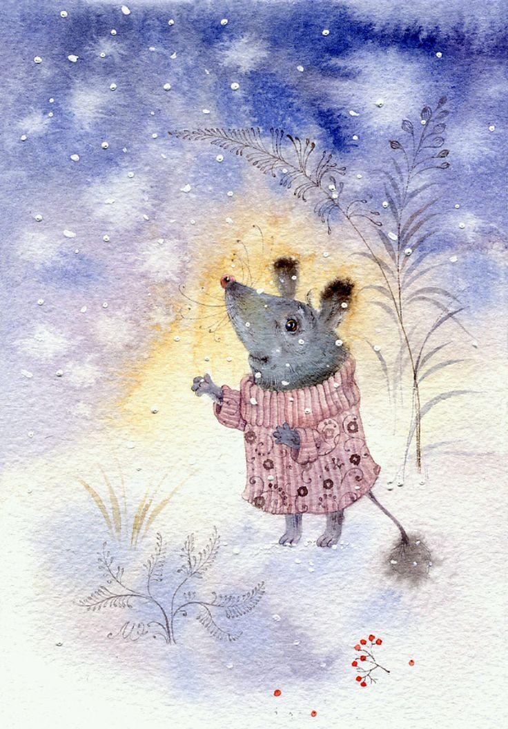 Открытка своими, картинки веселые мышки зимой
