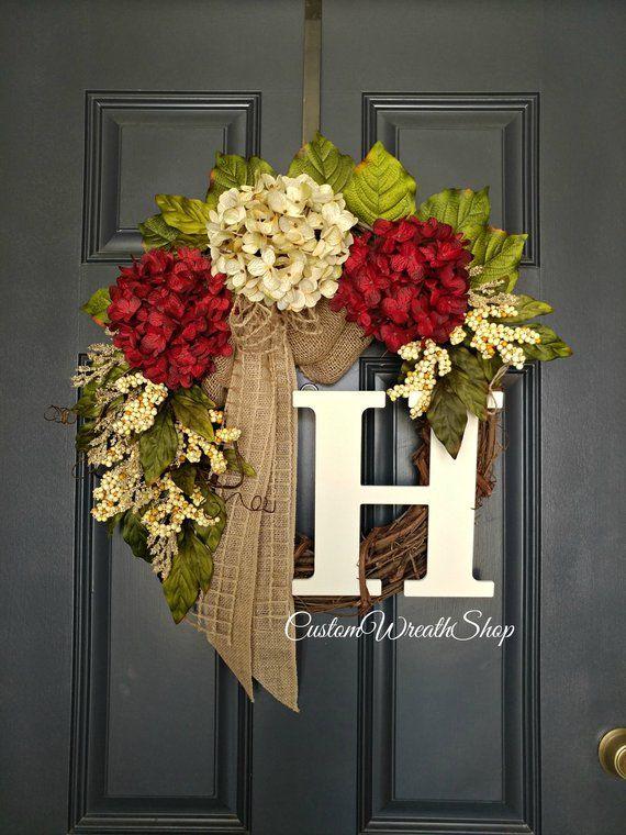 Christmas Wreath Year Round Wreath Hydrangea Wreath Wreaths Door
