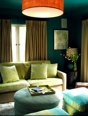 The Blue Green In Room And Dash Of Redish Orange Chandelier Make This Split Complementary