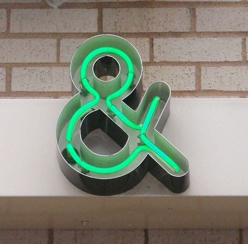 I like the way the neon tubes fit inside the casing and don't overlap, creating a new form of ampersand