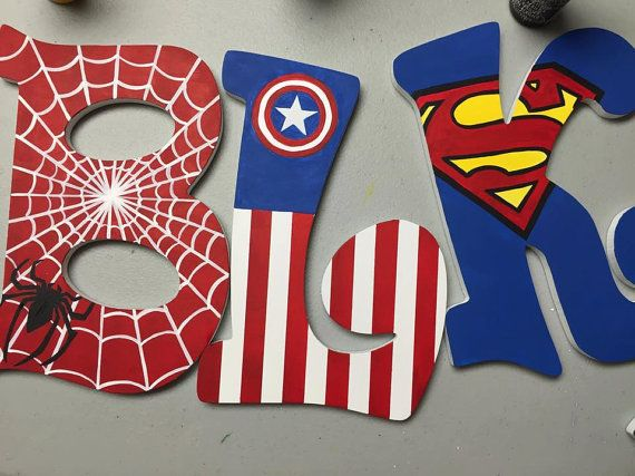 items similar to super heroes hand painted wooden letters on etsy
