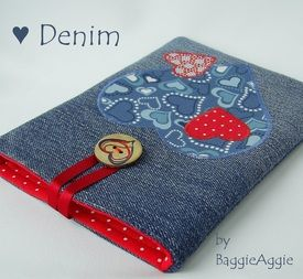 Limited Edition Tablet Case with appliqued hearts on denim. For Kindle Fire, iPad Mini, NOOK, Nexus 7, Galaxy Tab and more. A stunning Valentine's gift!