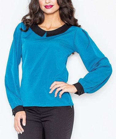 This Blue Contrast-Trim Peter Pan-Collar Top is perfect! #zulilyfinds