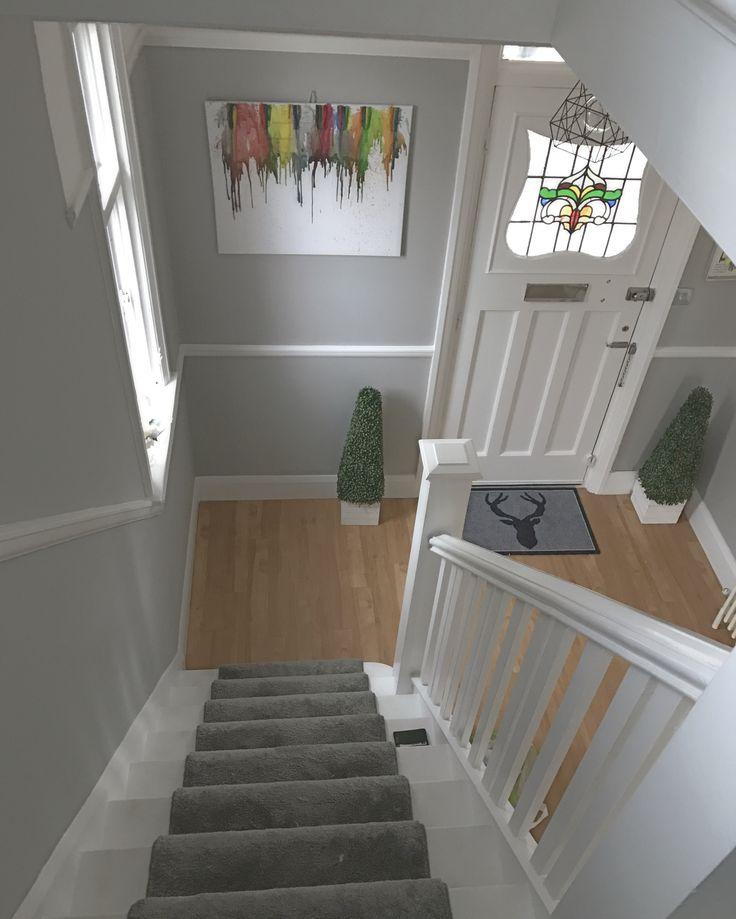 Grey hallway modern stair runner