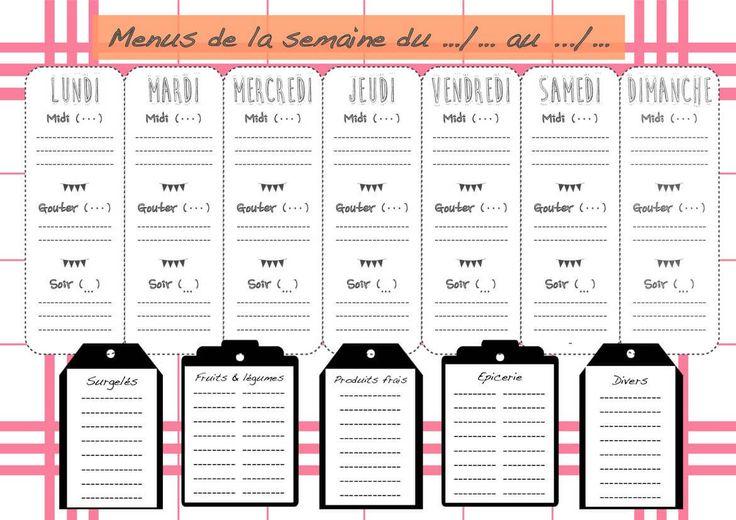 Planning repas de semaine imprimer vierge menus de la for Cuisine financement 0