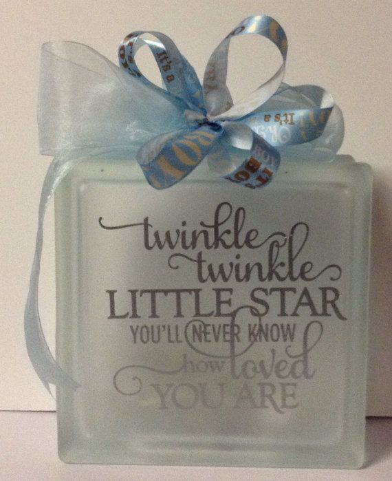 Glass Nite light for a baby boy. on Etsy, $20.00
