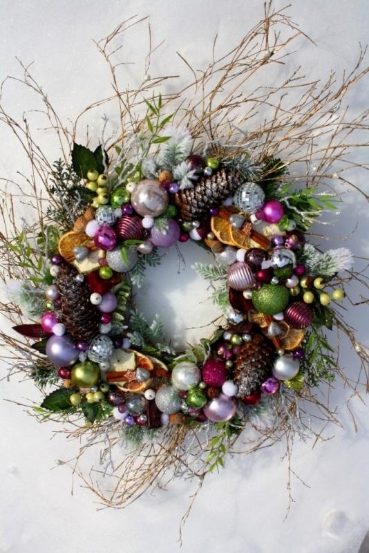 Wianek świąteczny na drzwi Pastelowe Święta - ozdoby świąteczne, dekoracje na Boże Narodzenie