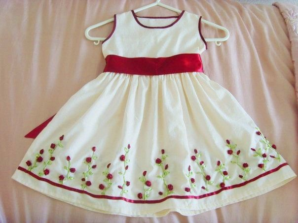 ribbon embroidery | Ribbon embroidery dress