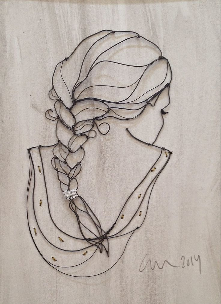 'Young girl' Metal wire on gray background By Christina James Nielsen