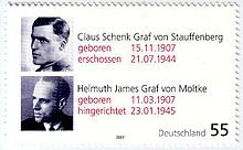 a German stamp of Stauffenberg and helmuth james graf von moltke in commemoration of their 100th birthdays  German Resistance to Nazism - Wikipedia, the free encyclopedia
