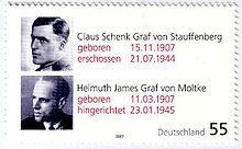Kreisau Circle   A German stamp of Stauffenberg and Helmuth James Graf von Moltke in commemoration of their 100th birthdays