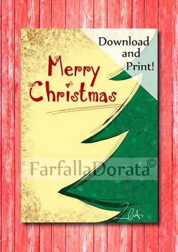 Last Minute Biglietto di Auguri di Natale, invito, partecipazione con albero verde disegnato a mano in digitale, A5 e pieghevole