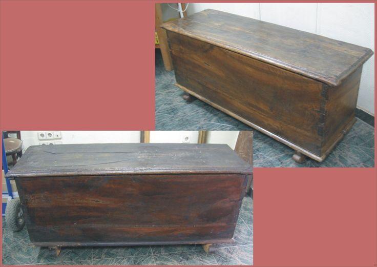 Restauraci n arc n de madera de nogal siglo xix ba les - Restauracion de muebles de madera ...