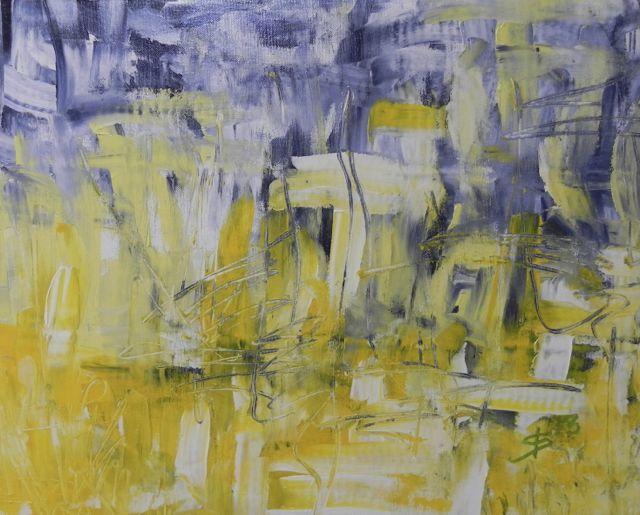 Boreas / El Viento | acryl op katoen | ca 50 x 40 cm | © Irka Stachiw #painting #schilderij #acrylic #landscape #soul #impressionism #wind