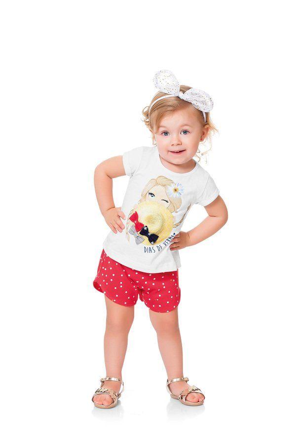 e7ab37d456 Conjunto Infantil Branco Fakini Kids Blusa com aplicação em silk e glitter  na parte frontal e