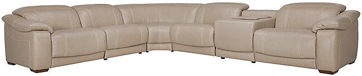 Orion Lt Taupe Leather & Bonded Leather Large 2-Arm Power Reclining Media Sectional