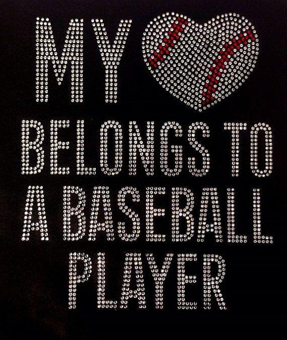 Baseball Rhinestone Iron On Bling Baseball Rhinestone Transfer DIY My Heart Belongs To A Baseball Player