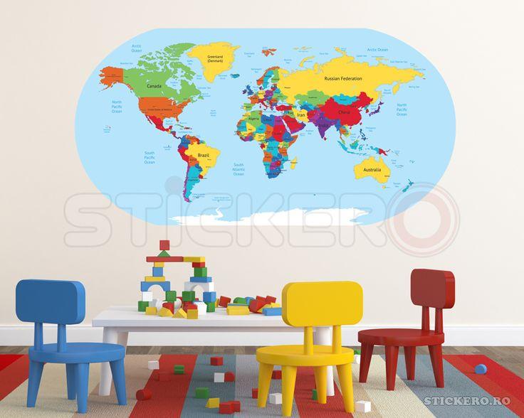 Harta lumii - sticker imprimat