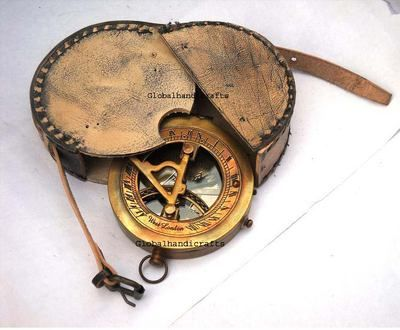 "Fully Functional 3"" Brass compass-Antique maritime Pocket Sundial Compass W/CASE 