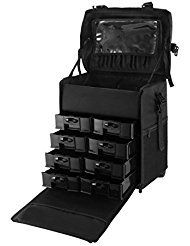 OrangeA 2 in 1 Makeup Case Black Nylon Makeup Case Professional Makeup Artist Rolling Trolley with Multiple Compartments and Lift Handle for Travel Cases (2 in 1 makeup case).