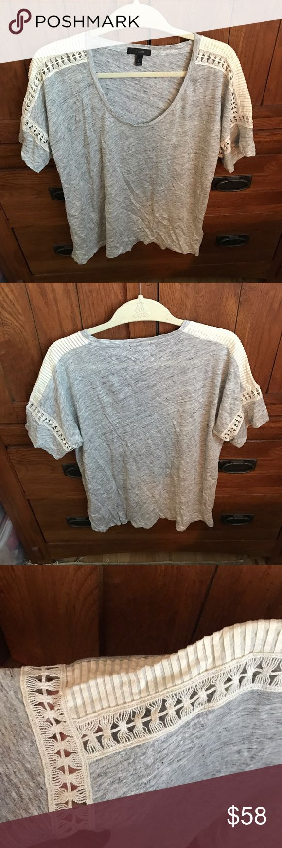J. Crew Grey and Cream Crocheted Tee Worn once perfect condition. Comfortable and fun for summer! Make an offer :) J. Crew Tops Tees - Short Sleeve