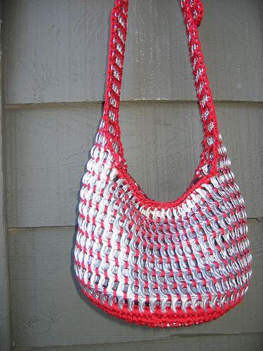 soda pop tabs crafts | Red Pull Tab Tote by Pop Top Lady. (I am sure you could use other colors as well)