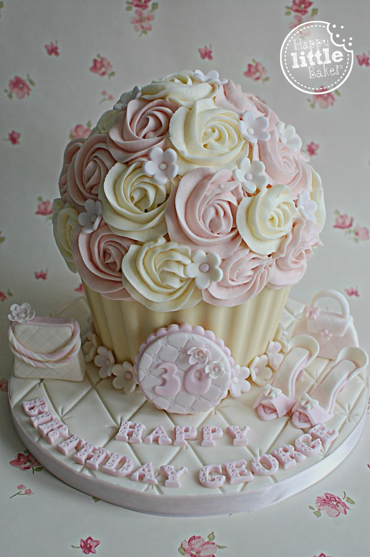 Birthday Giant Cupcake Cake. Customer chose different fondant decorations from past cakes I've made for this particular design.
