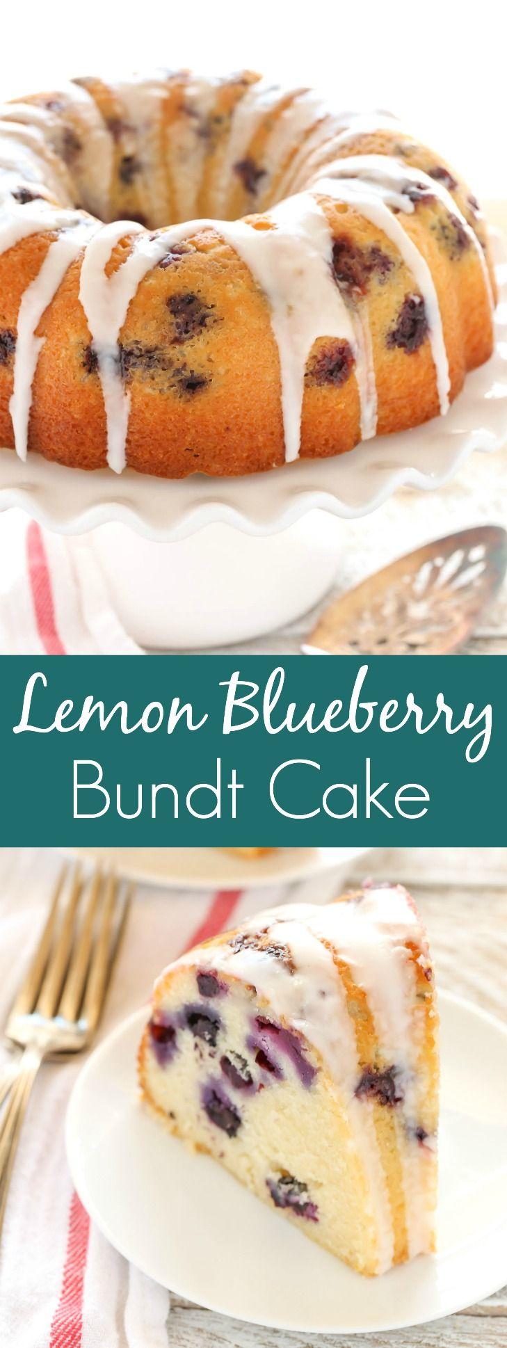 A moist lemon bundt cake filled with fresh blueberries and topped with a sweet lemon glaze. This Lemon Blueberry Bundt Cake is a perfect dessert for lemon lovers!