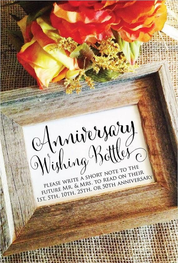 """Anniversary Bottle Wedding Sign ***(Frame NOT included) Default size is 5x7 Matte White, use """"Size"""" selector for other sizes. Paper Sizes: 5x7 *Default* 8x10 4x6 Paper choices: Matte White (WHT) 110lb"""