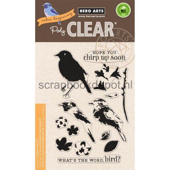 Scrapbookdepot - HeroArts Clear stamps 4x6inch Color Layering Bird & Branch - CL866 - Hero Arts - Afbeeldingen