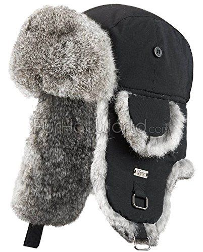 Black B-52 Aviator Hat with Grey Rabbit Fur - S/M - http://todays-shopping.xyz/2016/05/28/black-b-52-aviator-hat-with-grey-rabbit-fur-sm/