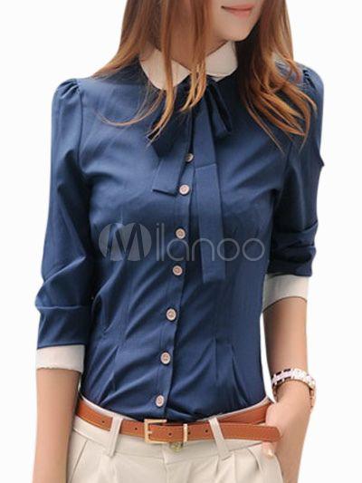 Modern Spread Neck Long Sleeves Two-Tone Spandex Womens Shirt - Milanoo.com