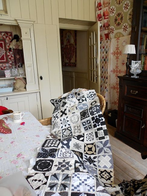 """Dear Jane"" quilt in black, white & gray by Supergoof Quilts ~ Laura Brodniak, Kirkland WA"
