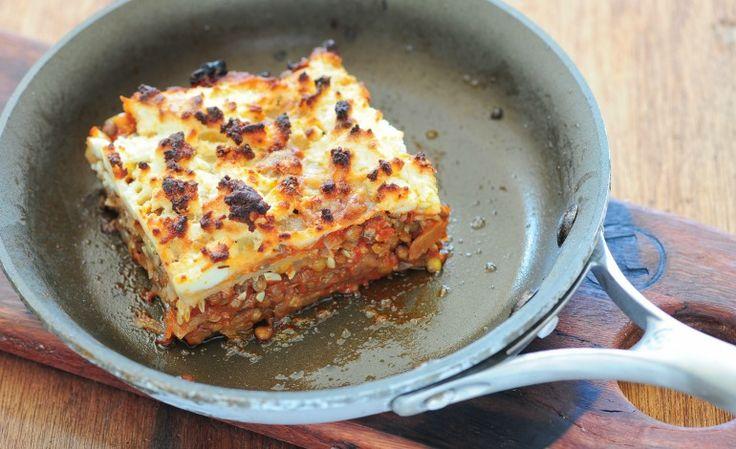 Lasagne con ricotta e ragù di verdure