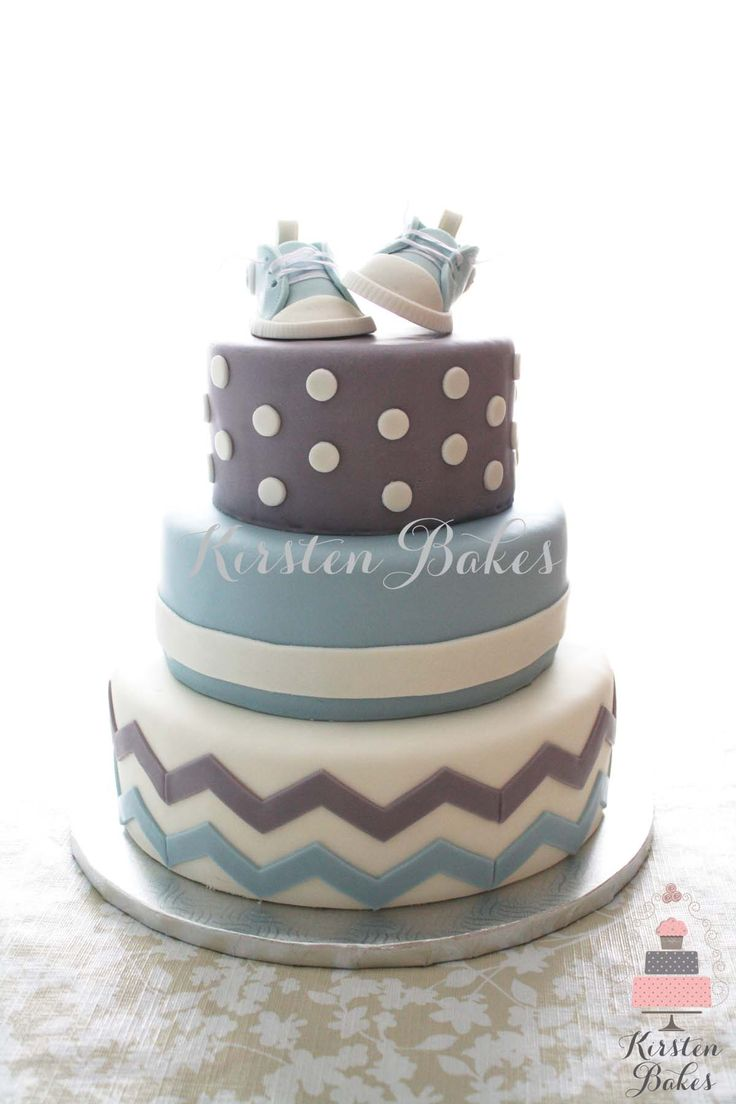 Baby Shower Cake Baby Boy Sneakers Converse Blue Grey White Chevron Stripes Dots (White Vintage Top)