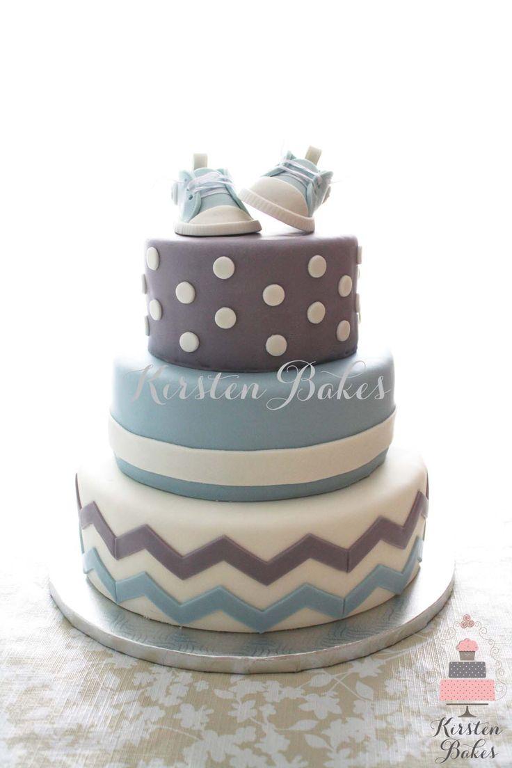 Baby Shower Cake Baby Boy Sneakers Converse Blue Grey White Chevron Stripes Dots