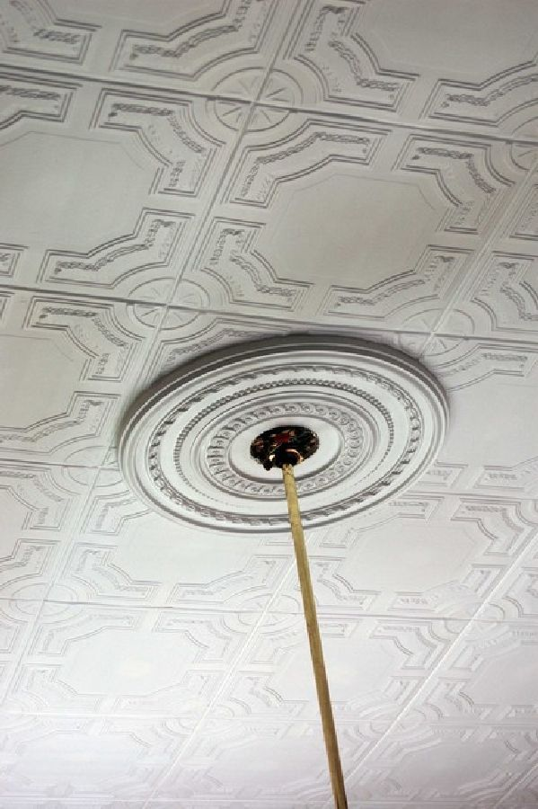 """Styrofoam tiles can be glued over """"Popcorn"""" Ceiling for a gorgeous transformation... I can't wait to do this!"""