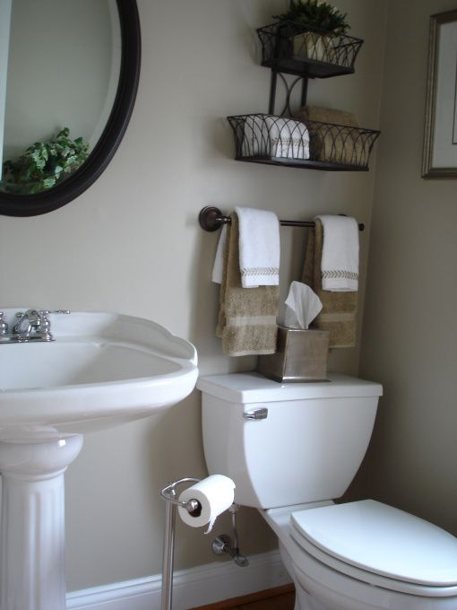 "Wall Color #730-C ""Castle Path"" by Behr This might be the color!!  colour and towel rod above toilet"