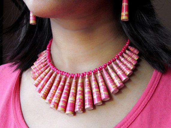 Paper bead necklace, paper earrings set - Pink and mustard yellow paper necklace set, paper jewelry, ecofriendly jewelry and first anniversary gifts by Paperica on Etsy.