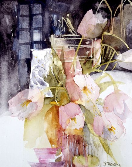 Pale Pink Tulips, Shirley Trevena