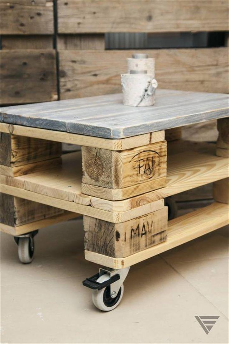 パレットボードでコーヒーテーブルをDIY! │ TIPS │ 自分らしいDIY ... via : http://www.99pallets.com/pallet-tables/euro-pallet-coffee-table-on-wheels/
