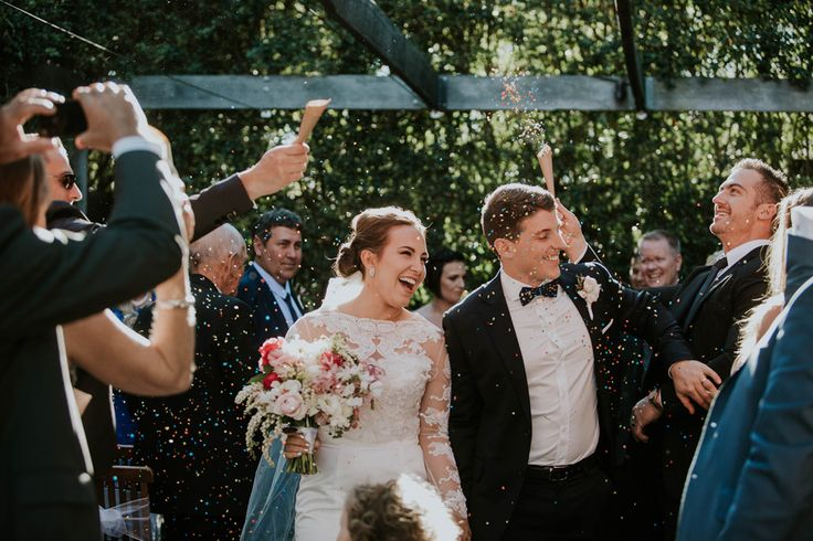 Jared and Nicole: the confetti shot! Married at Hillstone St Lucia, Brisbane || Cloud Catcher Studio