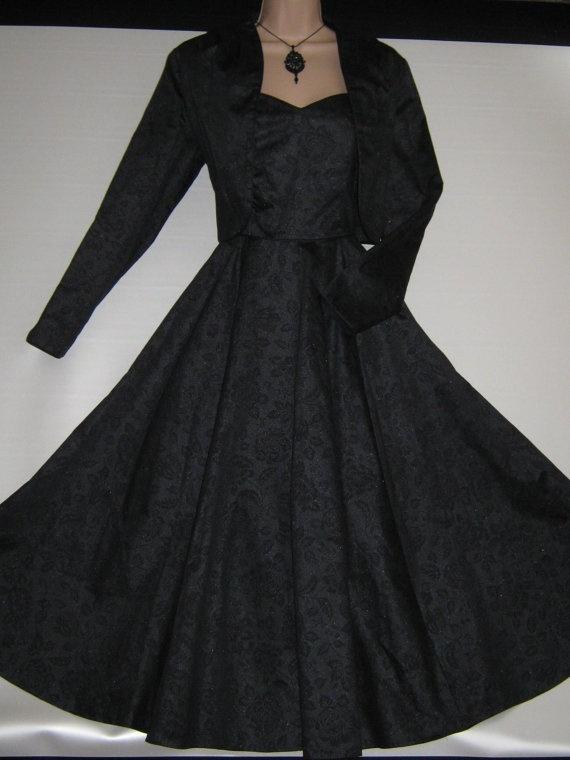 Stunning strapless LAURA ASHLEY Vintage Black Damask Floral Jacket-Dress by VINTAGELAURAASHLEY, Etsy